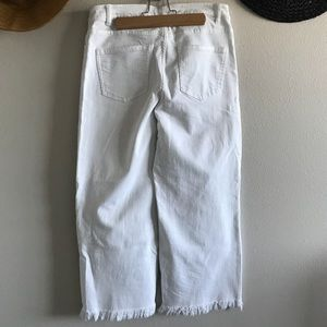 ZARA Wide Leg Cropped White Jeans